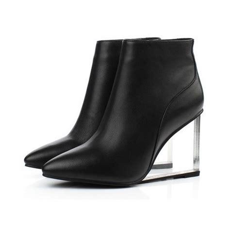 black leather korean transparent wedge high heel ankle boots