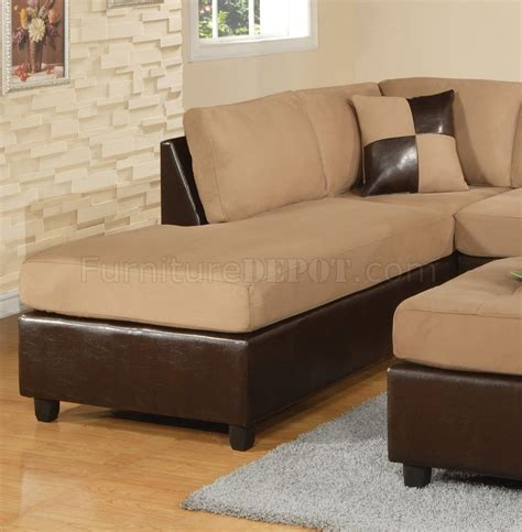 mocha fabric modern two tone sectional sofa w bycast base
