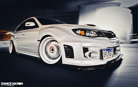 subaru wrx stance in white stancenation form gt function