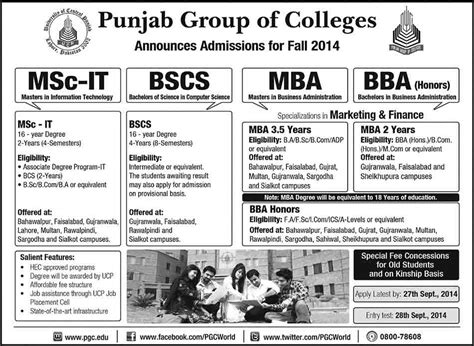 Of Cincinnati Marketing Mba Admissions by Punjab Of Colleges Hyderabad Admissions 2015