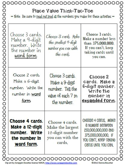 choice boards menus tic tac toe