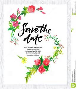 save the date invitation templates free wedding floral watercolor card save the date stock vector
