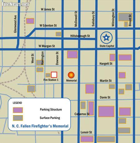 downtown raleigh map memorial carolina fallen firefighters foundation
