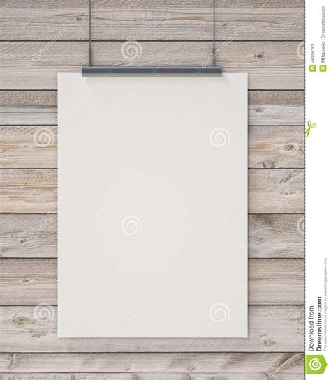 mock up blank white hanging poster on horizontal wooden