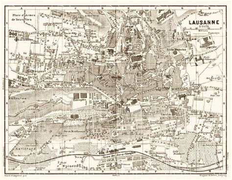 lausanne city map map of lausanne in 1897 buy vintage map replica