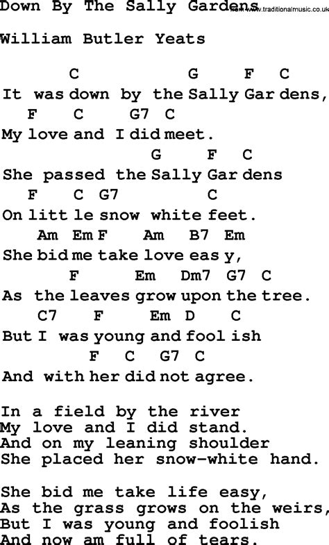 Sally Gardens Lyrics by Top 1000 Folk And Time Songs Collection By The