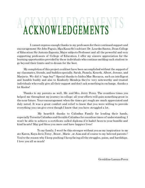 Acknowledgement Letter For My Family Acknowledgement