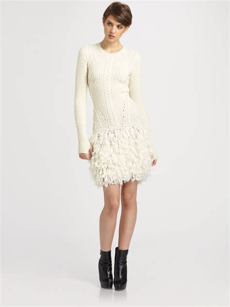 white cable knit sweater dress mcq cable loop knit wool sweater dress in white lyst