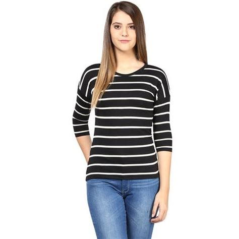Baju Top Blouse Motif Striped Black White New Modis Impor buy designer tops imported tops western wear style collection at best