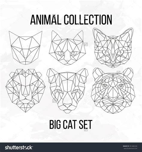 geometric tattoo elements geometric tattoo set of geometric cat tiger lion puma
