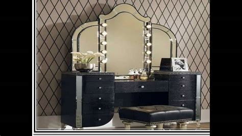 vanity with lighted mirror and bench makeup vanity table with lighted mirror youtube