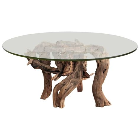 Driftwood Coffee Table Round Glass Top At 1stdibs Driftwood Glass Coffee Table