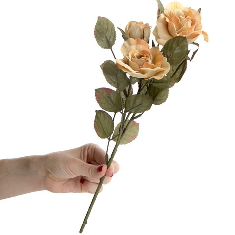soft orange and muted green artificial rose spray floral soft orange and muted green artificial rose spray on