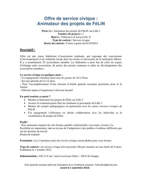 Exemple De Lettre De Démission Service Civique Lettre De Motivation Service Civique Le Dif En Questions