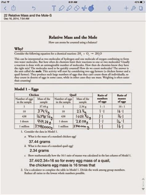 Relative Mass And The Mole Worksheet Answers by Aleko Hovek Chemistry P1 Moehl Relative Mass And