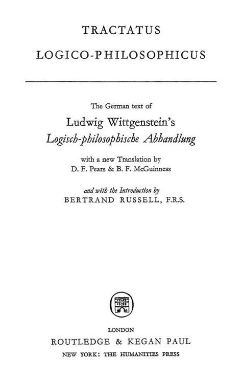 tractatus logico philosophicus ludwig wittgenstein tractatus logico philosophicus