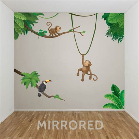 jungle wall stickers jungle monkey children s wall sticker set by oakdene