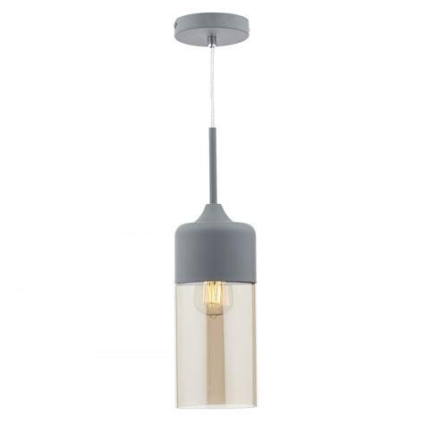 Contemporary Pendant Lighting Uk Contemporary Single Matt Grey Ceiling Pendant W Chagne Grey Glass
