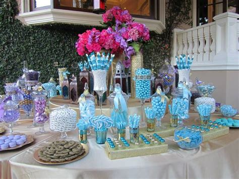blue purple and gold candy buffet by www candybarcouture