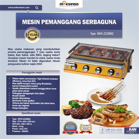 Tungku Pemanggang jual pemanggang bbq stainless gas 4 tungku di bandung
