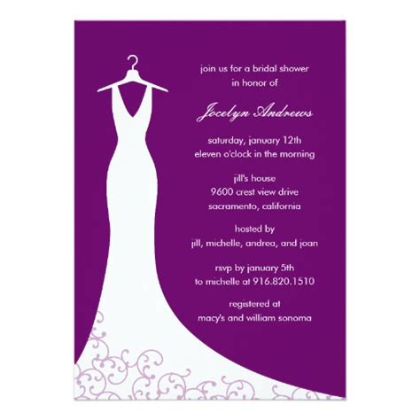 Bridal Shower Evite by Couture Gown Bridal Shower Invitation Purple 5 Quot X 7