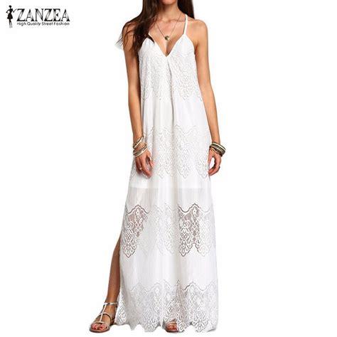 Maxi Tyara Renda Yr zanzea maxi dresses 2017 boho vestidos summer wear v neck split slip