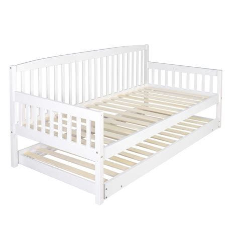sofa bed frame wooden sofa day bed frame w foldable trundle white buy