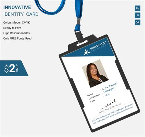 identity card design template simple innovative identity card template free premium