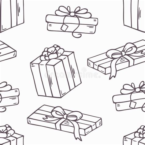 doodle box vector free gift box outline seamless pattern in stock