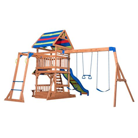 front wooden swing set