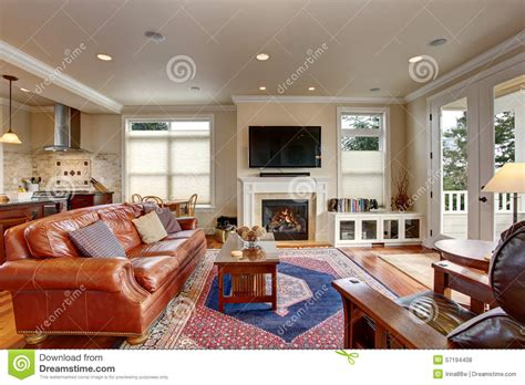 red blue room luxury living room with red and blue rug stock photo