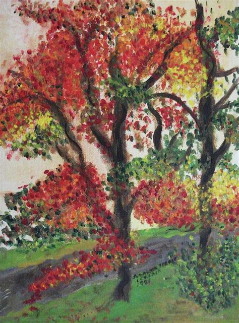 medium sized trees for front yard autumn tree in the front yard painting by suzanne