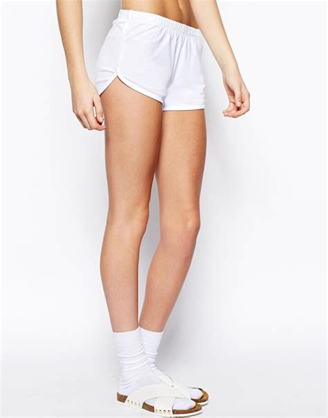 asos asos mini skirt with dolphin hem simple asos basic cotton shorts in white lyst