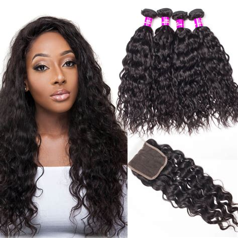 brazilian wet and wavy hair with closure free part lace closure with 4 bundles brazilian water wave with closure tinashehair