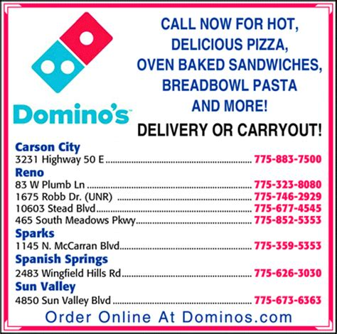 domino pizza delivery number domino s pizza reno nv 89521 yellowbook