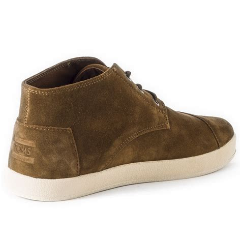 toms paseo mid mens boots in brown white