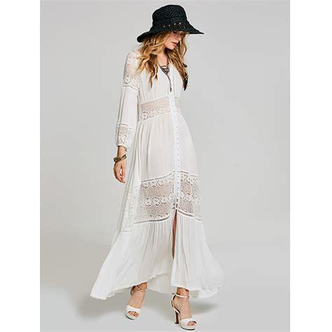 30708 White Informal V Neck Dress Dress Kode Vc6136 1 s casual sleeve v neck single breasted maxi dress n15414