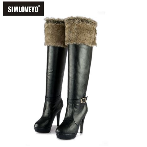 popular white high heel fur boots buy cheap white high