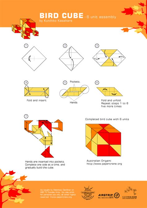Origami Cube Pdf - lunchtime craft unit origami bird sonobe unit