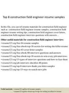 Construction Field Engineer Cover Letter by Top 8 Construction Field Engineer Resume Sles