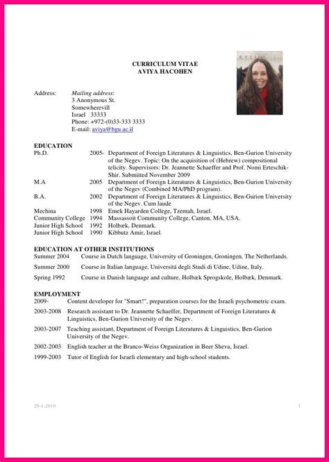 academic resume template for grad school 9 sle academic cv graduate student