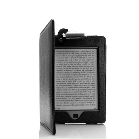 kinderle led premium black kindle touch lighted cover pu leather
