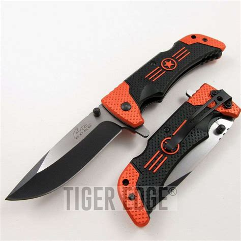 assist pocket knife assist folding pocket knife orange black blade