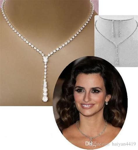 Cheap Crystal Bridal Jewelry Set Silver Plated Necklace