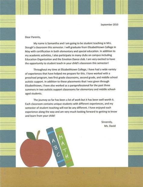 sample intro letter to parents   Student Teaching