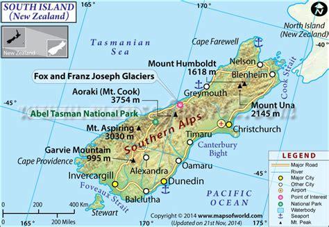 South Island Map, New Zealand