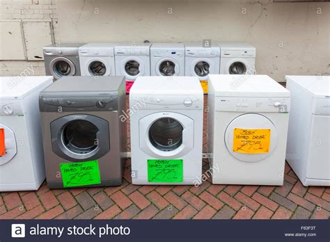 washing machine for sale washing machines and second tumble dryers for sale on a uk stock photo royalty free