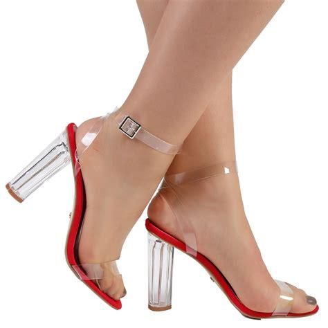 Heels K0193 Open Toe womens high clear heels ankle strappy open toe sandals shoes size ebay