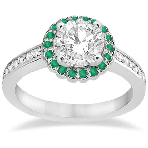 halo and emerald engagement ring 14k white gold 0 62ct