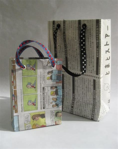 How To Make Paper Bags From Newspaper - gift bags from newspapers with tutorial